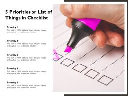 5 Priorities Or List Of Things In Checklist