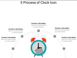 5 Process Of Clock Icon Ppt Examples Slides