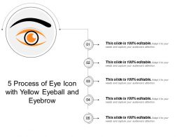 5 Process Of Eye Icon With Yellow Eyeball And Eyebrow