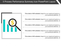 5 Process Performance Summary Icon Powerpoint Layout