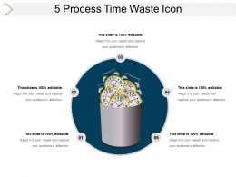 5 Process Time Waste Icon Presentation Layouts
