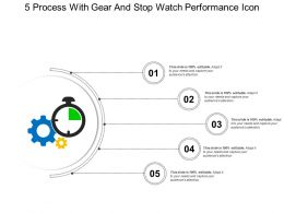 5 Process With Gear And Stop Watch Performance Icon