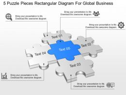 5 Puzzle Pieces Rectangular Diagram For Global Business Ppt Template Slide