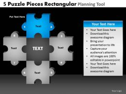 5 Puzzle Pieces Rectangular Planning Tool Powerpoint Slides And Ppt Templates DB