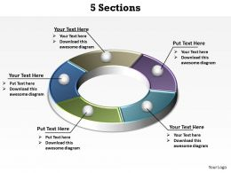 5 sections or ring circle powerpoint diagram templates graphics 712
