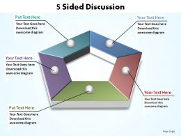 5 sided discussion hexagonal shape split with hole slides diagrams templates info graphics
