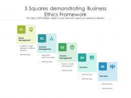 5 Squares Demonstrating Business Ethics Framework