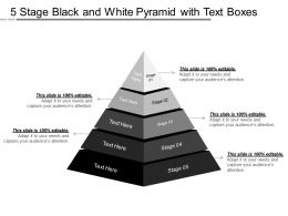 5 Stage Black And White Pyramid With Text Boxes