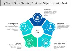 5 Stage Circle Showing Business Objectives With Text Boxes