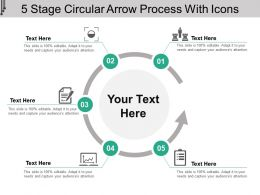 5 Stage Circular Arrow Process With Icons
