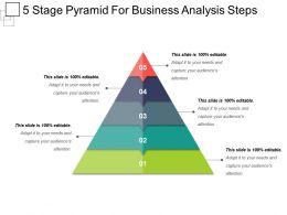 5 Stage Pyramid For Business Analysis Steps Ppt Slide
