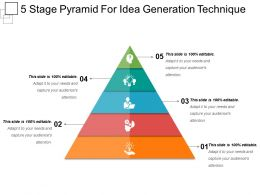5 Stage Pyramid For Idea Generation Technique Powerpoint Slide