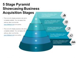 5 Stage Pyramid Showcasing Business Acquisition Stages Ppt Icon
