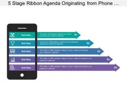 5 Stage Ribbon Agenda Originating From Phone With Profit Icon