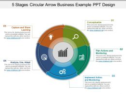 5 Stages Circular Arrow Business Example Ppt Design