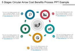 5 Stages Circular Arrow Cost Benefits Process Ppt Example