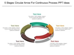 5 Stages Circular Arrow For Continuous Process Ppt Ideas