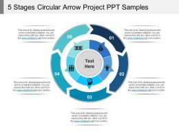 5_stages_circular_arrow_project_ppt_samples_Slide01