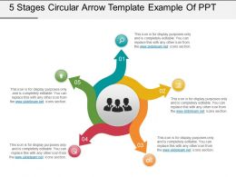 5 Stages Circular Arrow Template Example Of Ppt