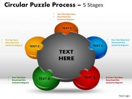 5 Stages Circular diagram Puzzle Process 5