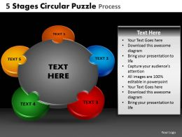 5 Stages Circular Puzzle Process Powerpoint Slides And Ppt Templates DB