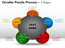5 Stages Circular Puzzle Process Slides