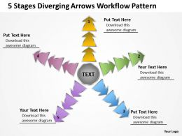 5 stages diverging arrows workflow pattern Circular Layout Process PowerPoint templates