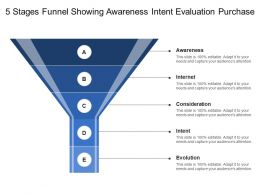 5 Stages Funnel Showing Awareness Intent Evaluation Purchase