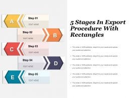 5 Stages In Export Procedure With Rectangles Powerpoint Slide Presentation Tips