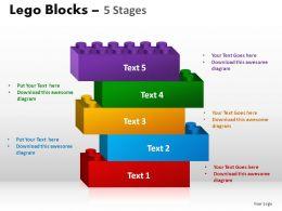 5 Stages Lego Blocks Powerpoint Slides