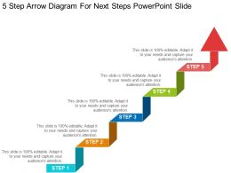 5 Step Arrow Diagram For Next Steps Powerpoint Slide