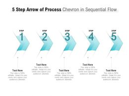 5 Step Arrow Of Process Chevron In Sequential Flow