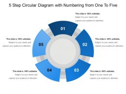 5 Step Circular Diagram With Numbering From One To Five