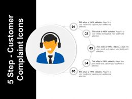 5 Step Customer Complaint Icons PowerPoint Images