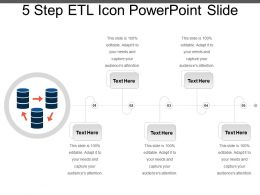5 Step Etl Icon Powerpoint Slide