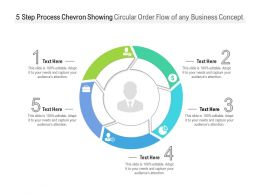 5 Step Process Chevron Showing Circular Order Flow Of Any Business Concept