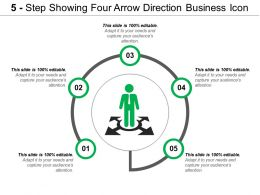 5 Step Showing Four Arrow Direction Business Icon