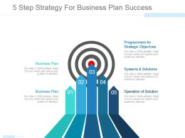 5 Step Strategy For Business Plan Success Powerpoint Ideas