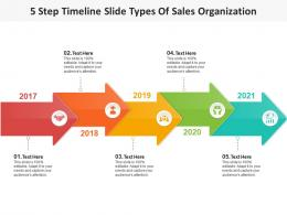 5 Step Timeline Slide Types Of Sales Organization Infographic Template