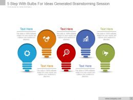 5 Step With Bulbs For Ideas Generated Brainstorming Session Ppt Slide