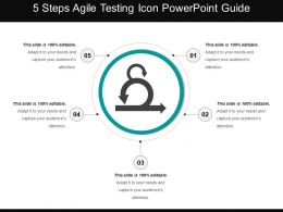 5 Steps Agile Testing Icon Powerpoint Guide