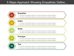 5 Steps Approach Showing Empathize Define Ideate Prototype And Test