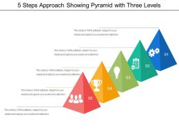 5 Steps Approach Showing Pyramid With Three Levels