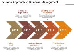 5 Steps Approach To Business Management Ppt Slide Template