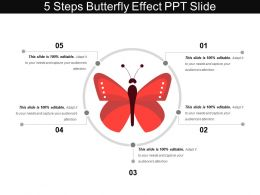 5 Steps Butterfly Effect Ppt Slide