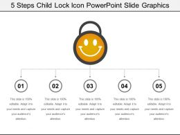 5 Steps Child Lock Icon Powerpoint Slide Graphics