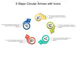 5 Steps Circular Arrows With Icons
