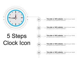 5 Steps Clock Icon Ppt Examples Slides