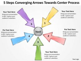 5 steps converging arrows towards center process Software PowerPoint templates