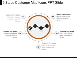 5 Steps Customer Map Icons Ppt Slide